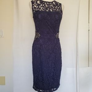 David Meister cocktail dress lace beaded  navy 4